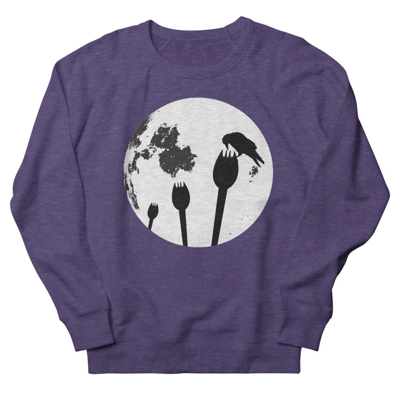Raven in a spork grave yard and full moon. Men's French Terry Sweatshirt by Sporkshirts's tshirt gamer movie and design shop.