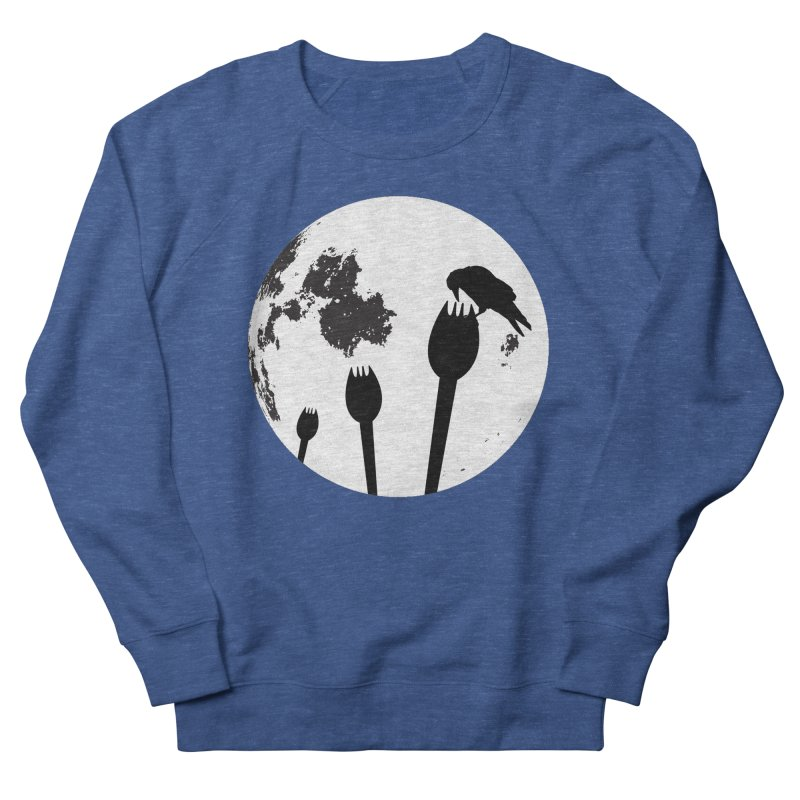 Raven in a spork grave yard and full moon. Men's French Terry Sweatshirt by Make a statement, laugh, enjoy.