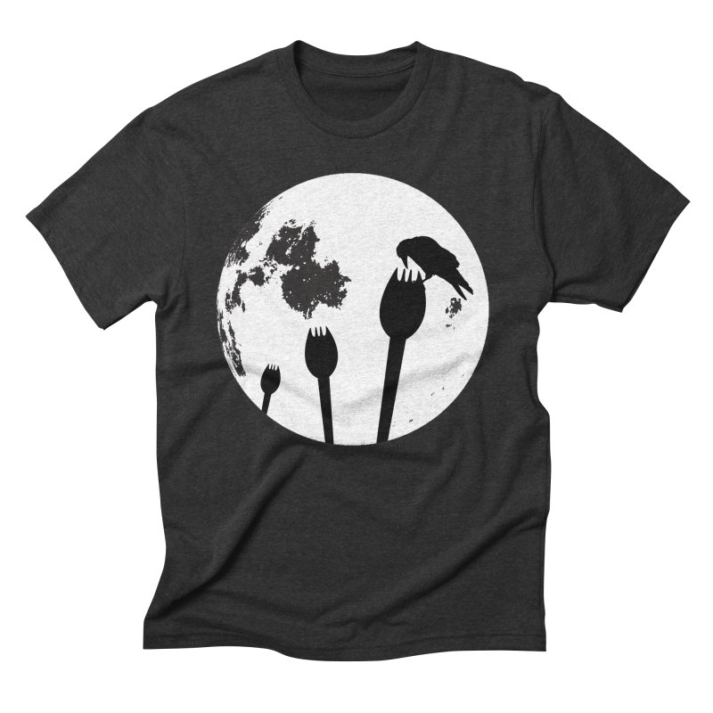 Raven in a spork grave yard and full moon. Men's Triblend T-Shirt by Make a statement, laugh, enjoy.
