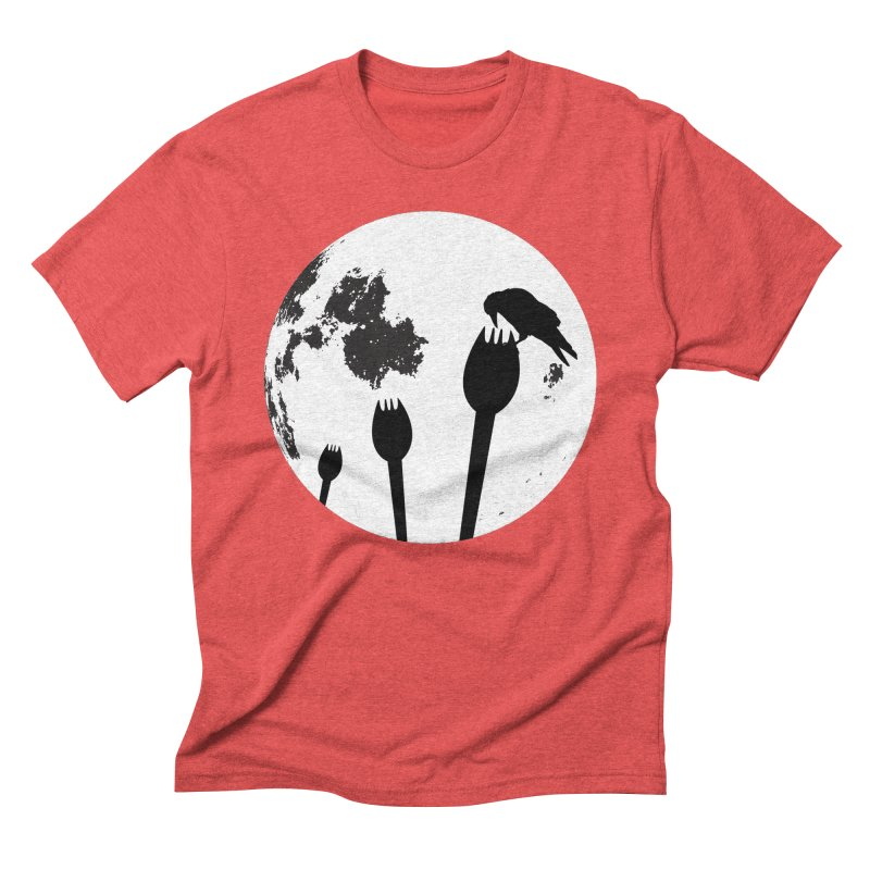 Raven in a spork grave yard and full moon. Men's Triblend T-Shirt by Sporkshirts's tshirt gamer movie and design shop.