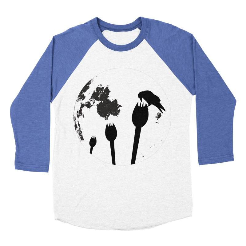 Raven in a spork grave yard and full moon. Women's Baseball Triblend Longsleeve T-Shirt by Sporkshirts's tshirt gamer movie and design shop.