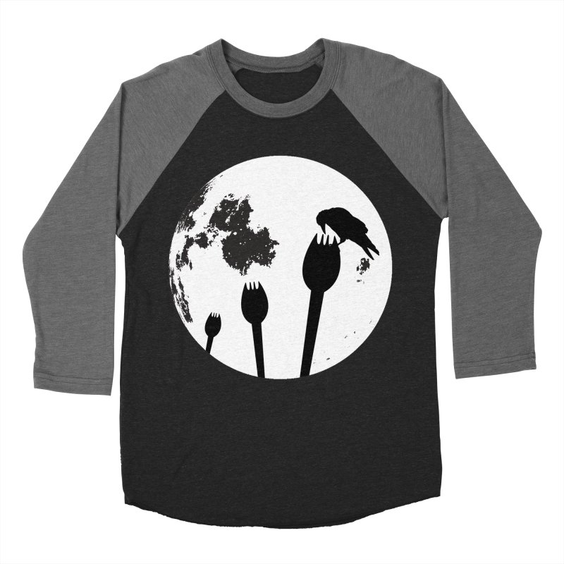 Raven in a spork grave yard and full moon. Men's Baseball Triblend Longsleeve T-Shirt by Make a statement, laugh, enjoy.