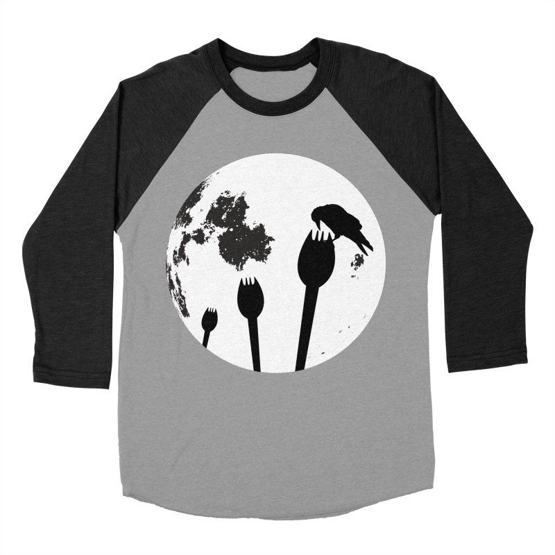 Raven in a spork grave yard and full moon. Men's Baseball Triblend Longsleeve T-Shirt by Sporkshirts's tshirt gamer movie and design shop.