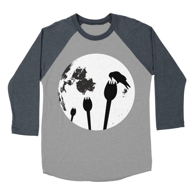 Raven in a spork grave yard and full moon. Men's Baseball Triblend Longsleeve T-Shirt by Make a statement, laugh, enjoy.