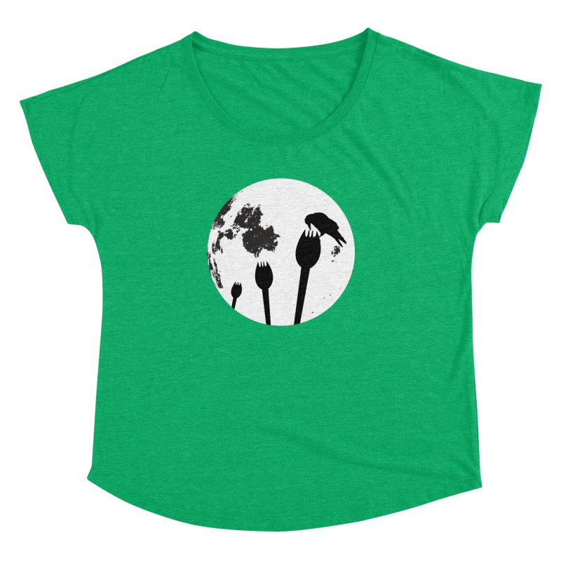 Raven in a spork grave yard and full moon. Women's Dolman Scoop Neck by Make a statement, laugh, enjoy.