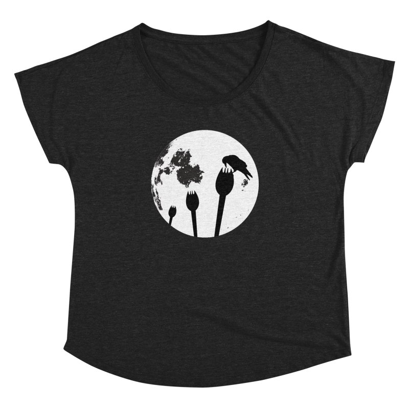 Raven in a spork grave yard and full moon. Women's Dolman Scoop Neck by Sporkshirts's tshirt gamer movie and design shop.