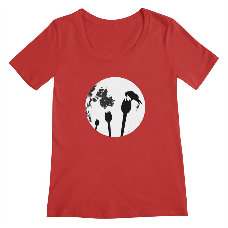 Raven in a spork grave yard and full moon. Women's Regular Scoop Neck by Make a statement, laugh, enjoy.