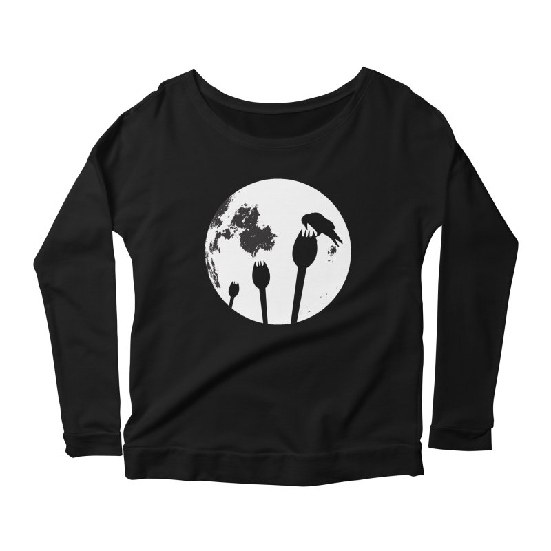 Raven in a spork grave yard and full moon. Women's Scoop Neck Longsleeve T-Shirt by Make a statement, laugh, enjoy.