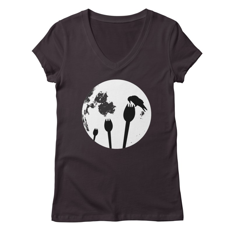 Raven in a spork grave yard and full moon. Women's Regular V-Neck by Make a statement, laugh, enjoy.