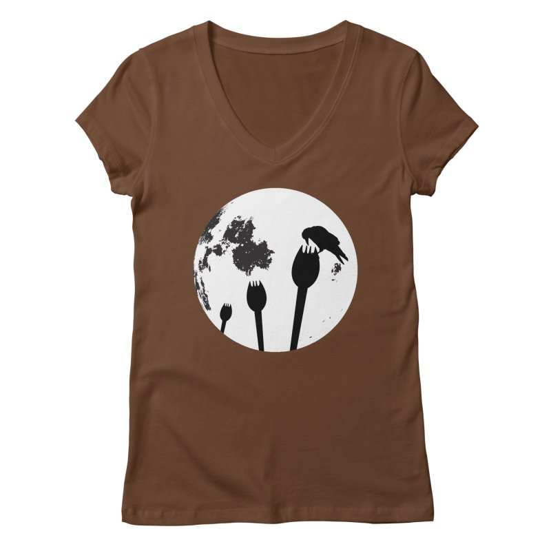 Raven in a spork grave yard and full moon. Women's Regular V-Neck by Sporkshirts's tshirt gamer movie and design shop.