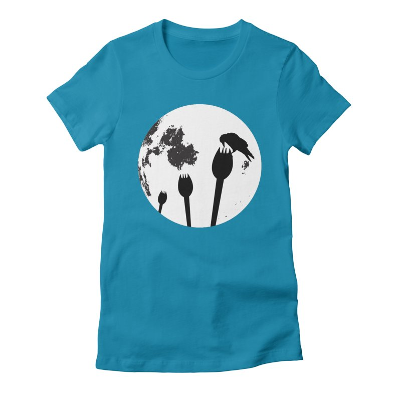 Raven in a spork grave yard and full moon. Women's Fitted T-Shirt by Sporkshirts's tshirt gamer movie and design shop.
