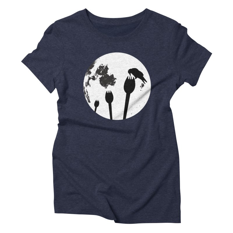 Raven in a spork grave yard and full moon. Women's Triblend T-Shirt by Make a statement, laugh, enjoy.