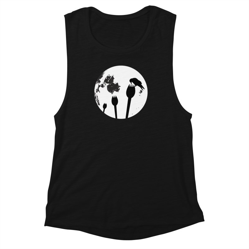 Raven in a spork grave yard and full moon. Women's Muscle Tank by Sporkshirts's tshirt gamer movie and design shop.