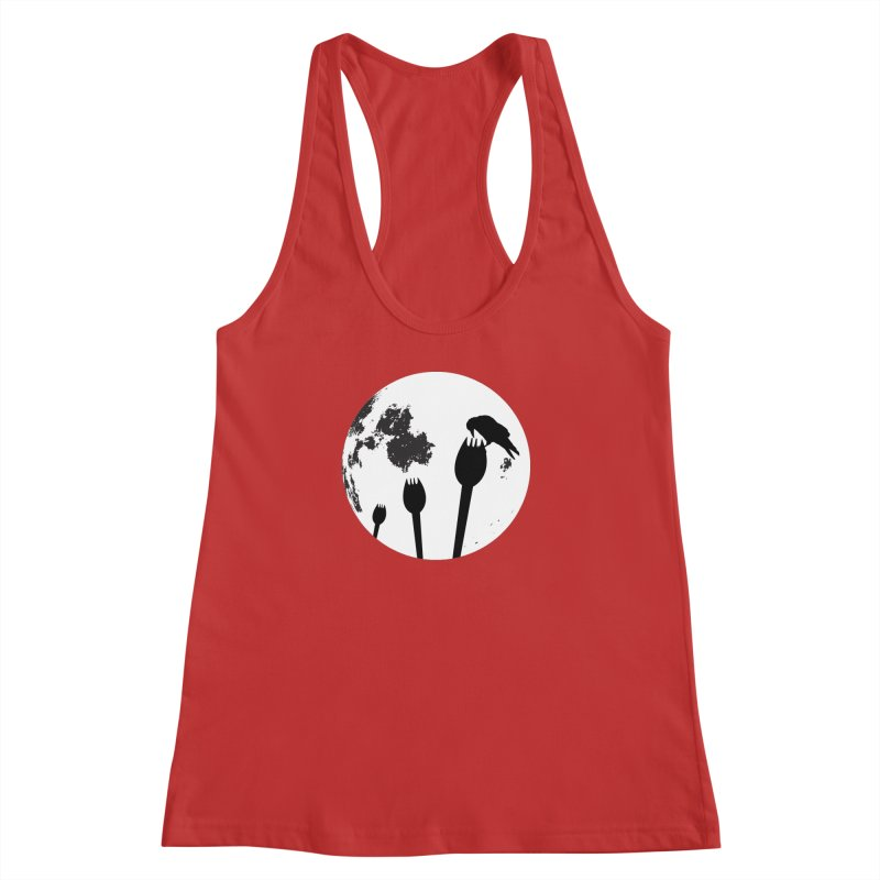 Raven in a spork grave yard and full moon. Women's Racerback Tank by Sporkshirts's tshirt gamer movie and design shop.
