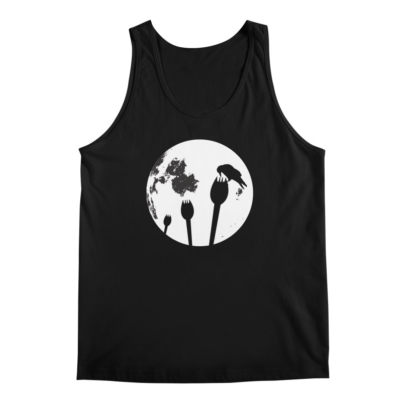 Raven in a spork grave yard and full moon. Men's Regular Tank by Sporkshirts's tshirt gamer movie and design shop.