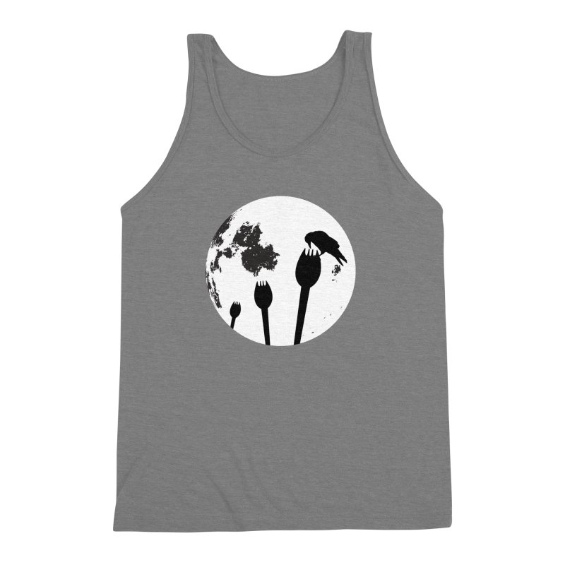 Raven in a spork grave yard and full moon. Men's Triblend Tank by Make a statement, laugh, enjoy.