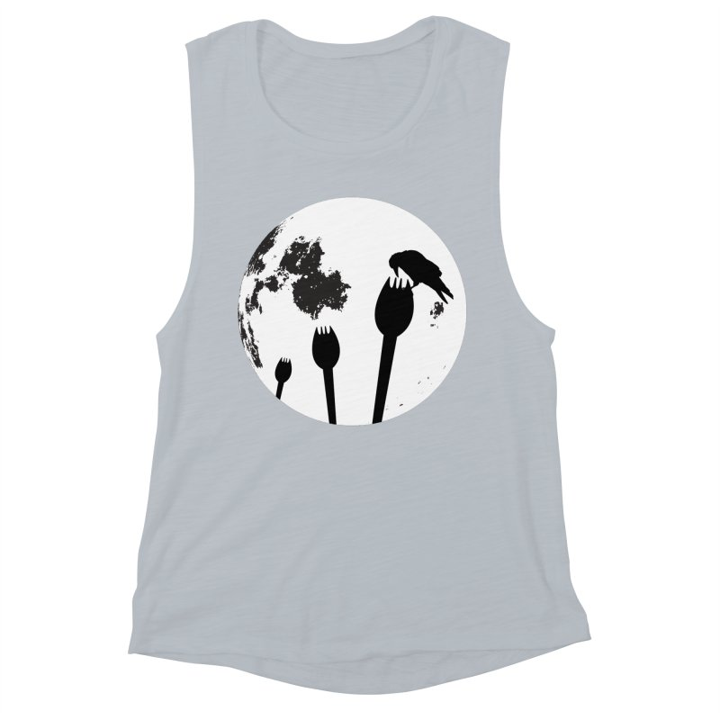 Raven in a spork grave yard and full moon. Women's Muscle Tank by Make a statement, laugh, enjoy.