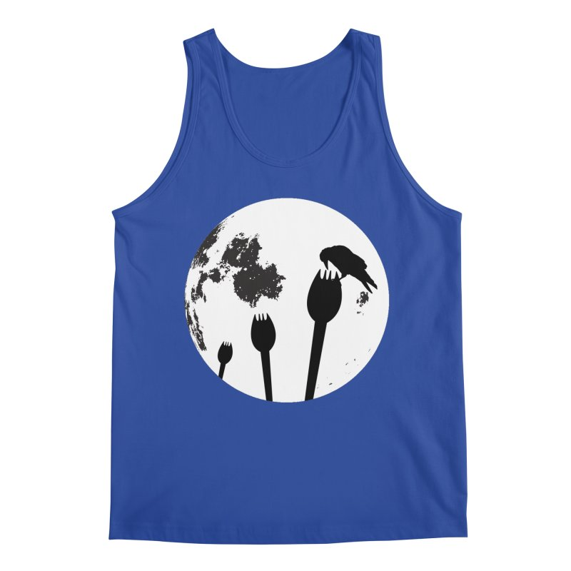 Raven in a spork grave yard and full moon. Men's Regular Tank by Make a statement, laugh, enjoy.