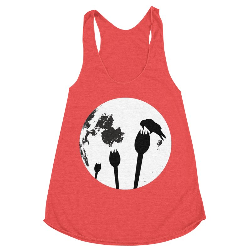 Raven in a spork grave yard and full moon. Women's Racerback Triblend Tank by Make a statement, laugh, enjoy.