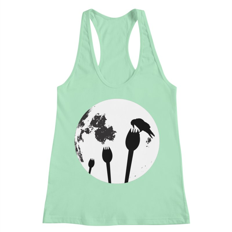 Raven in a spork grave yard and full moon. Women's Racerback Tank by Make a statement, laugh, enjoy.