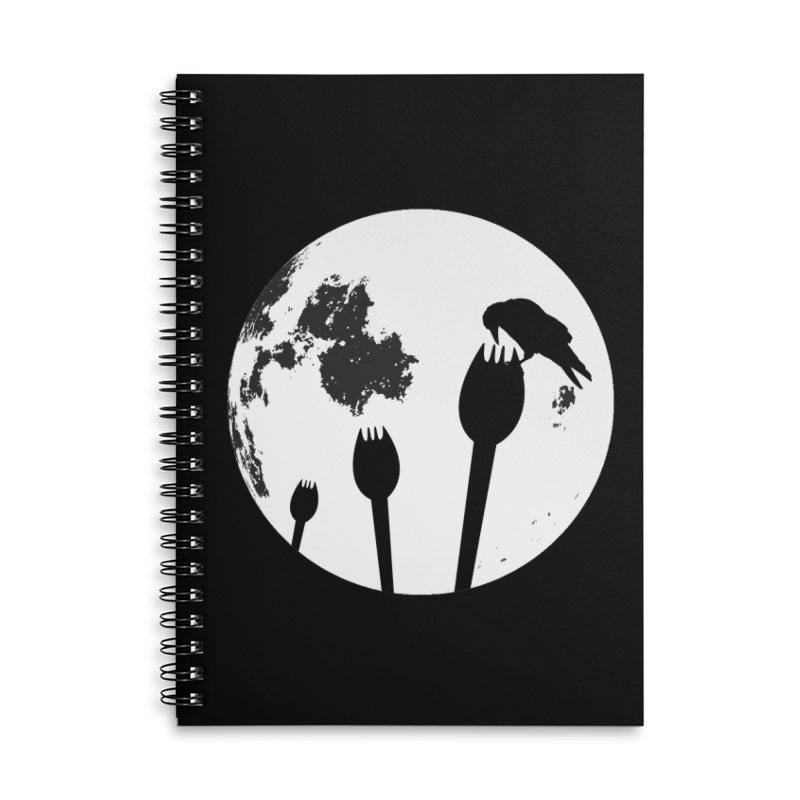 Raven in a spork grave yard and full moon. Accessories Lined Spiral Notebook by Make a statement, laugh, enjoy.