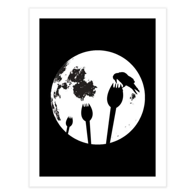 Raven in a spork grave yard and full moon. Home Fine Art Print by Make a statement, laugh, enjoy.