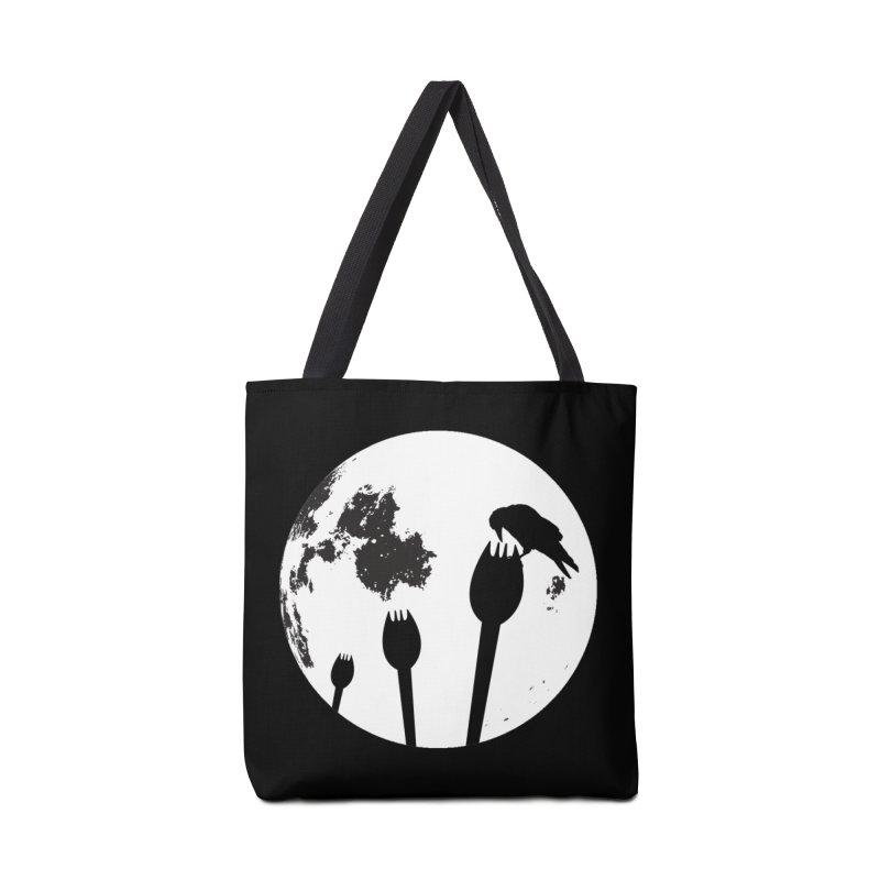 Raven in a spork grave yard and full moon. Accessories Tote Bag Bag by Make a statement, laugh, enjoy.