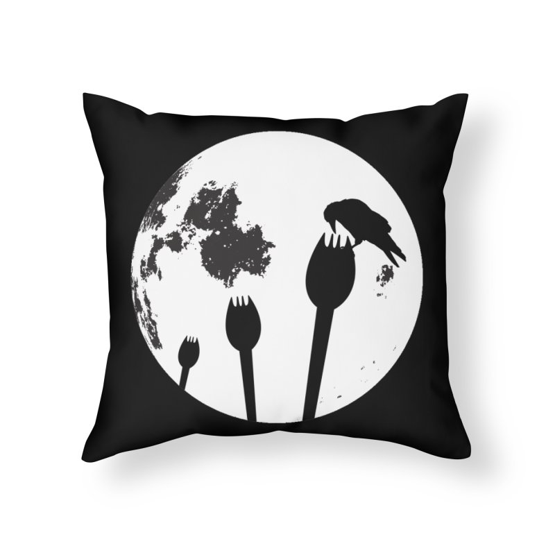 Raven in a spork grave yard and full moon. Home Throw Pillow by Sporkshirts's tshirt gamer movie and design shop.
