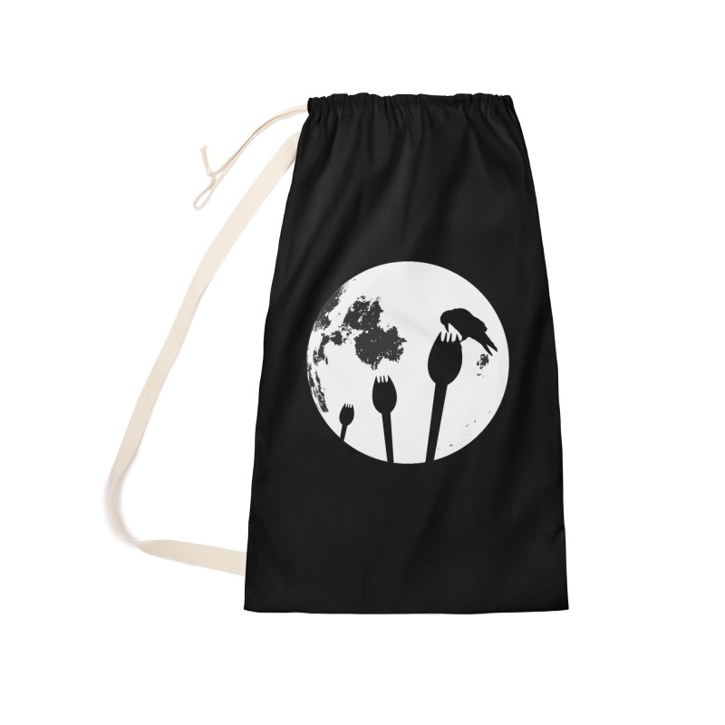 Raven in a spork grave yard and full moon. Accessories Laundry Bag Bag by Make a statement, laugh, enjoy.