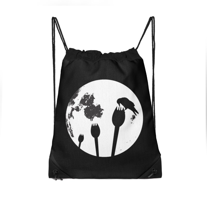 Raven in a spork grave yard and full moon. Accessories Drawstring Bag Bag by Make a statement, laugh, enjoy.