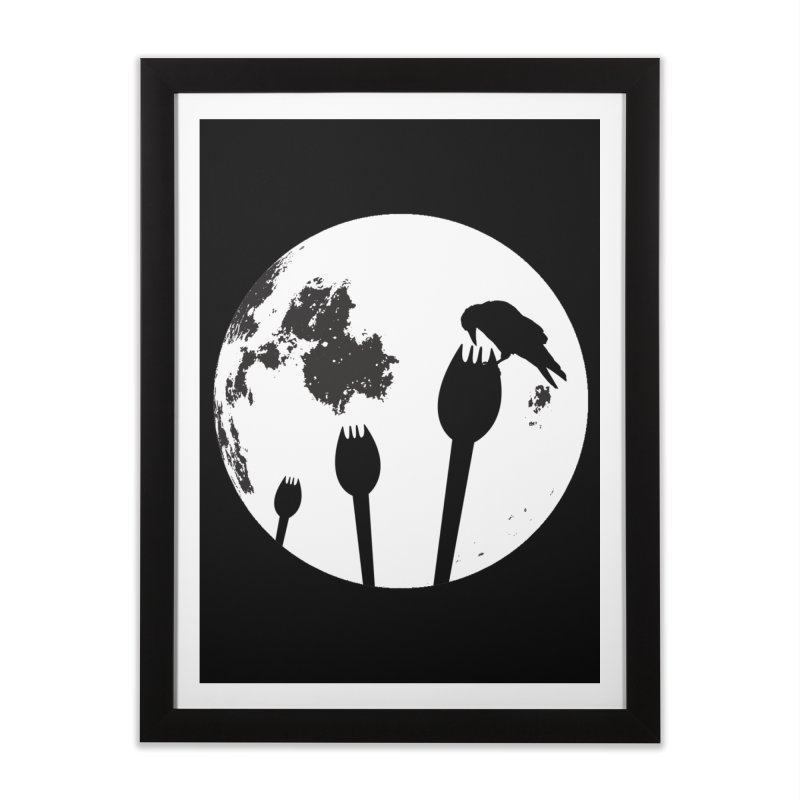Raven in a spork grave yard and full moon. Home Framed Fine Art Print by Make a statement, laugh, enjoy.