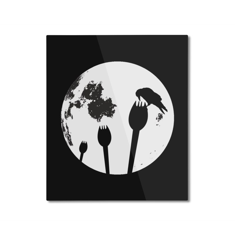 Raven in a spork grave yard and full moon. Home Mounted Aluminum Print by Sporkshirts's tshirt gamer movie and design shop.