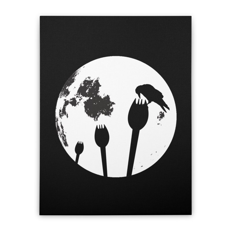 Raven in a spork grave yard and full moon. Home Stretched Canvas by Make a statement, laugh, enjoy.