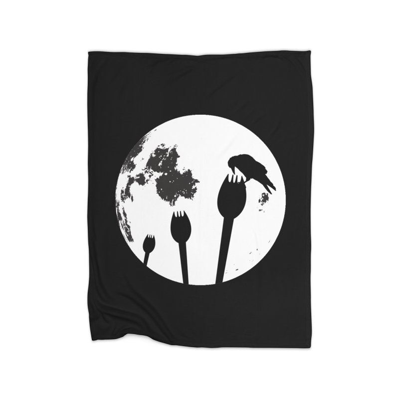Raven in a spork grave yard and full moon. Home Fleece Blanket Blanket by Sporkshirts's tshirt gamer movie and design shop.