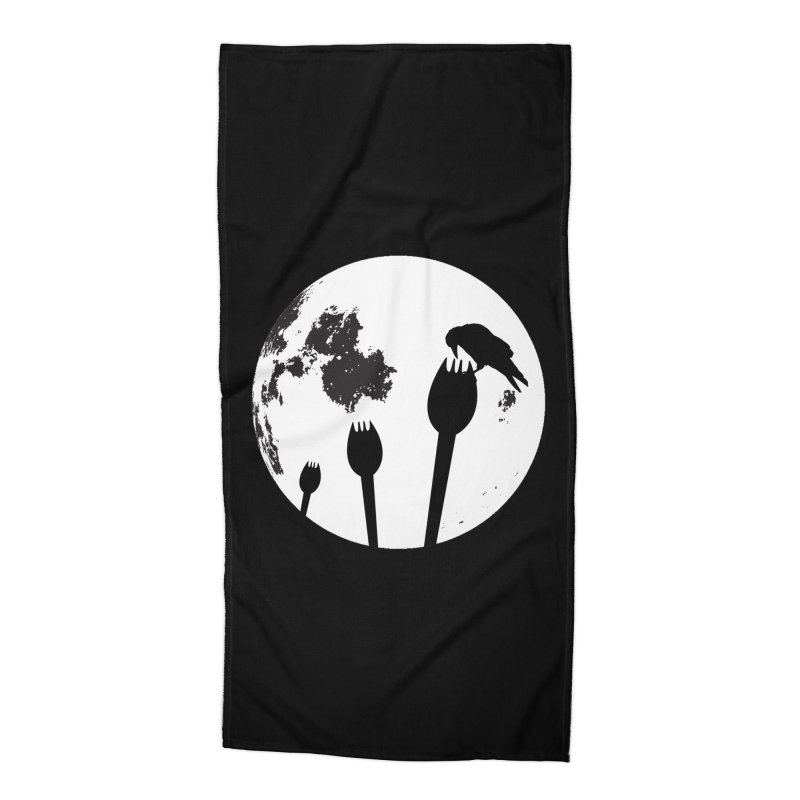 Raven in a spork grave yard and full moon. Accessories Beach Towel by Sporkshirts's tshirt gamer movie and design shop.
