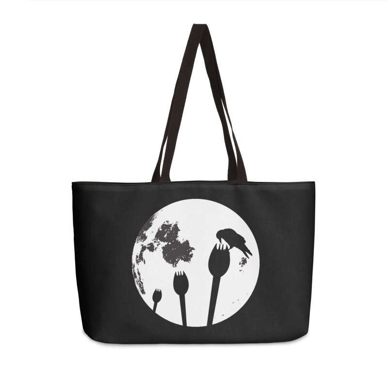 Raven in a spork grave yard and full moon. Accessories Weekender Bag Bag by Make a statement, laugh, enjoy.