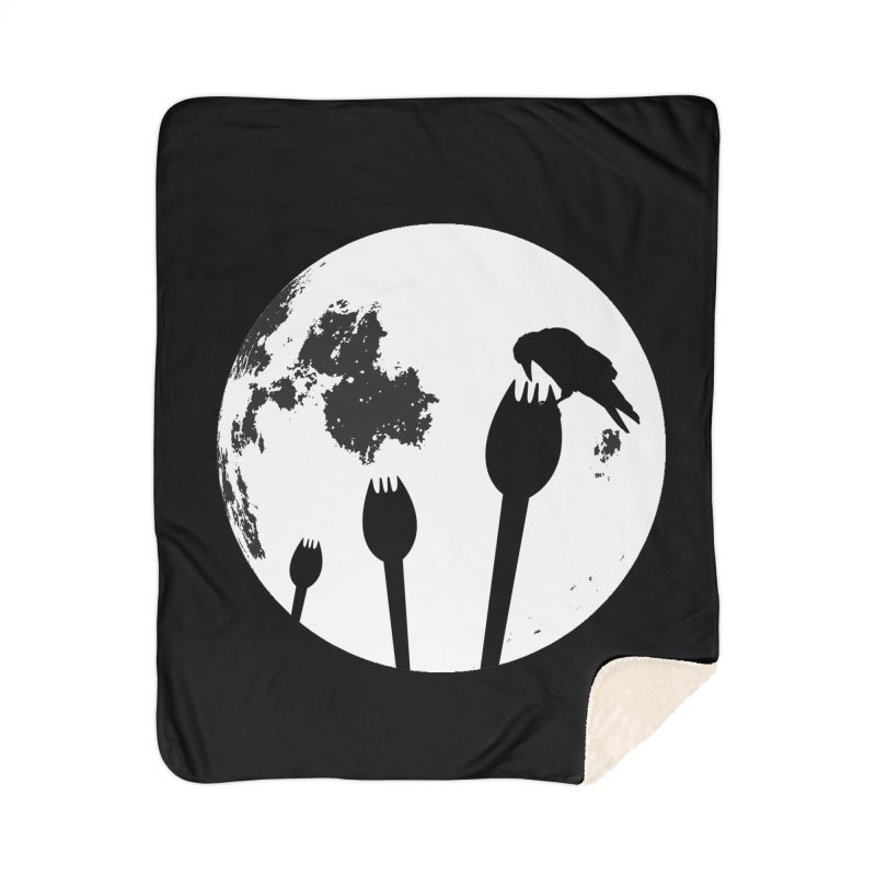 Raven in a spork grave yard and full moon. Home Sherpa Blanket Blanket by Sporkshirts's tshirt gamer movie and design shop.