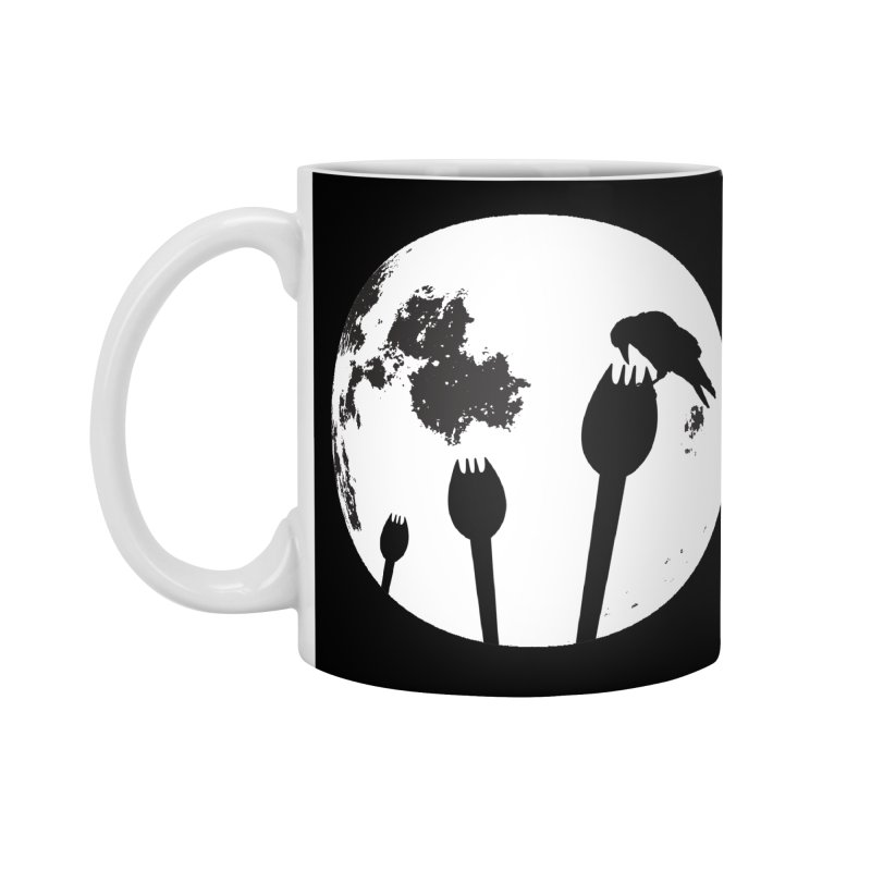 Raven in a spork grave yard and full moon. Accessories Standard Mug by Make a statement, laugh, enjoy.