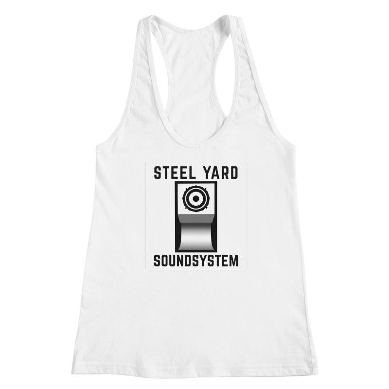 Steel Yard Scoop Speaker Graphic Women's Racerback Tank by Steelyard Soundsystem Gear