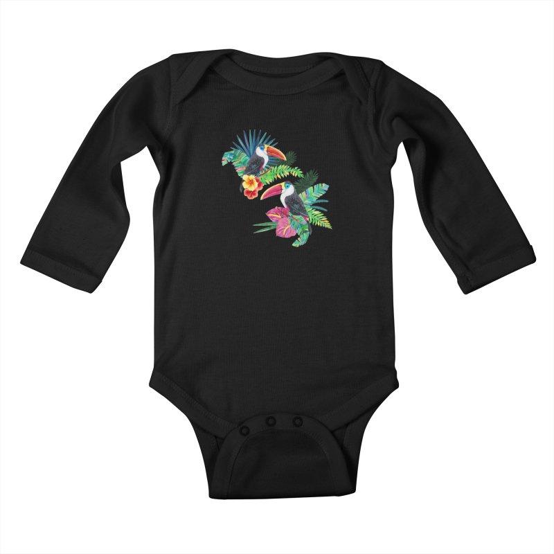 Toucan Birds Kids Baby Longsleeve Bodysuit by StellaCaraman's