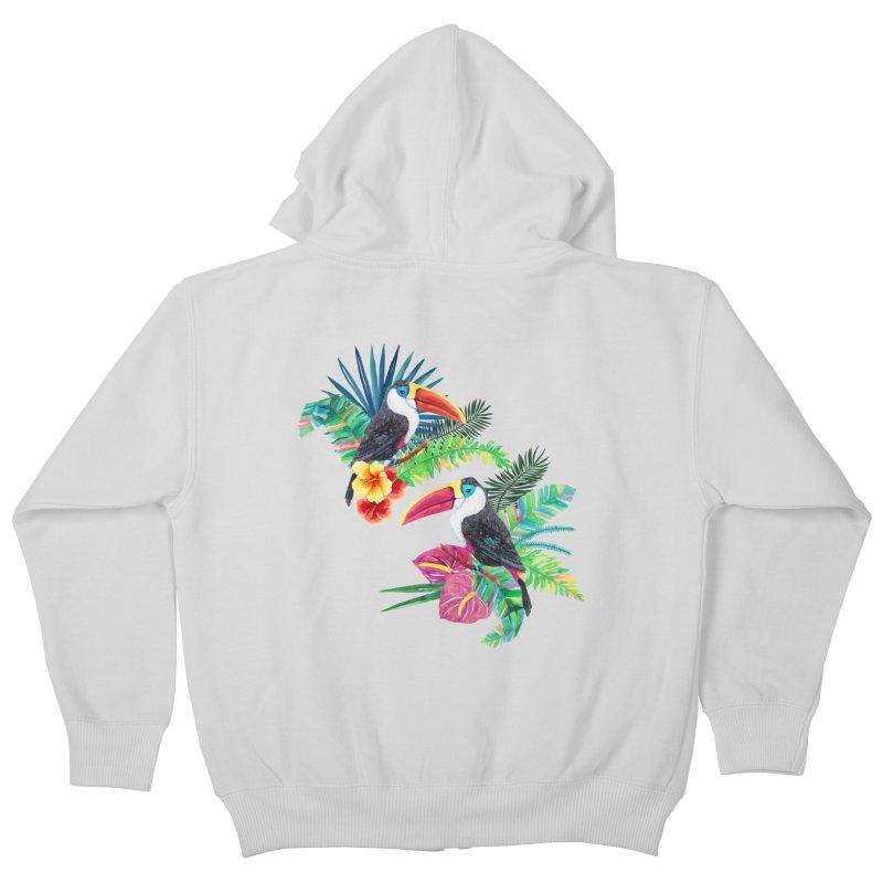 Toucan Birds Kids Zip-Up Hoody by StellaCaraman's