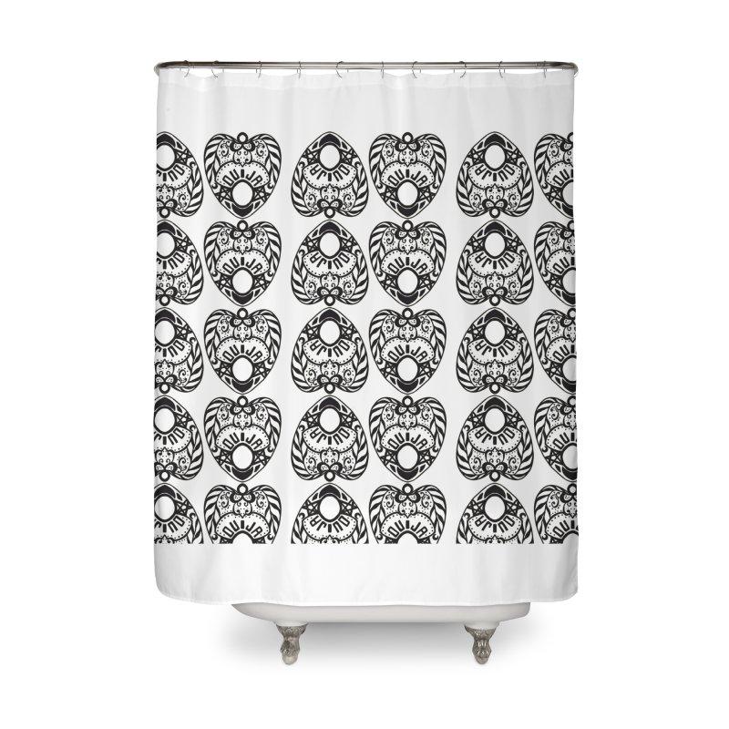Ouija games white Home Shower Curtain by Stellarevolutiondesigns's Artist Shop