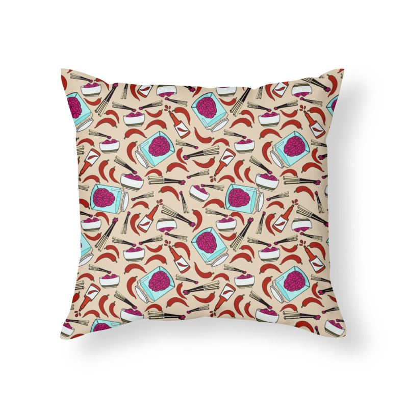 Zombie brain toss and hot sauce Home Throw Pillow by Stellarevolutiondesigns's Artist Shop