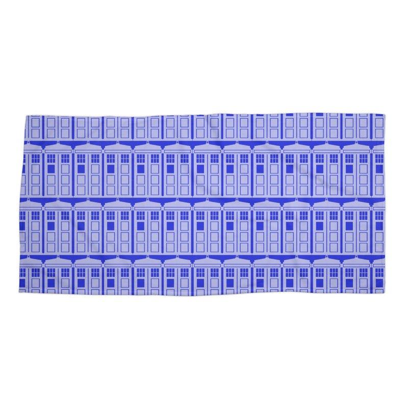 blue time box Accessories Beach Towel by Stellarevolutiondesigns's Artist Shop
