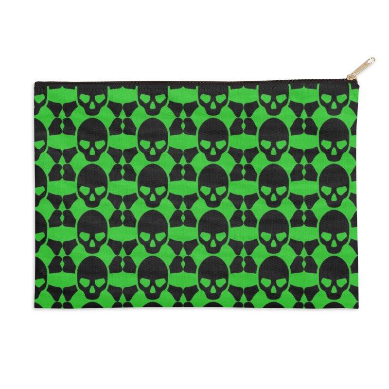 skull x pattern green Accessories Zip Pouch by Stellarevolutiondesigns's Artist Shop