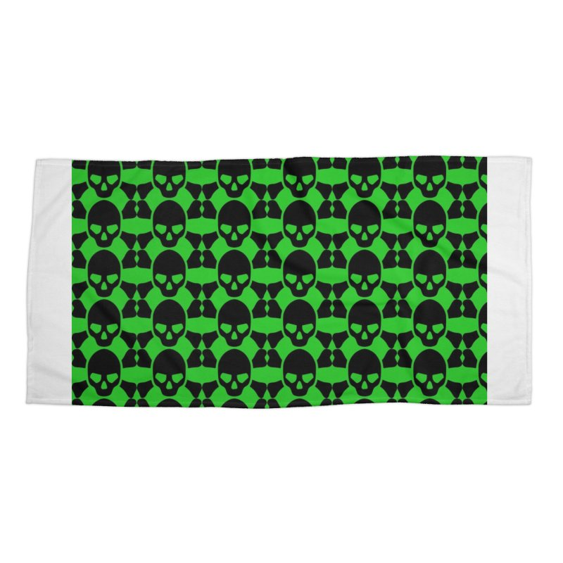 skull x pattern green Accessories Beach Towel by Stellarevolutiondesigns's Artist Shop