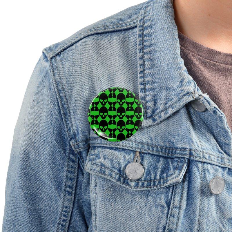 skull x pattern green Accessories Button by Stellarevolutiondesigns's Artist Shop