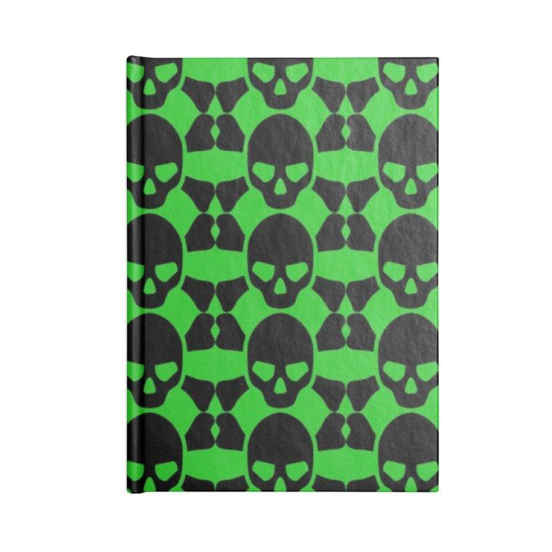 skull x pattern green Accessories Notebook by Stellarevolutiondesigns's Artist Shop