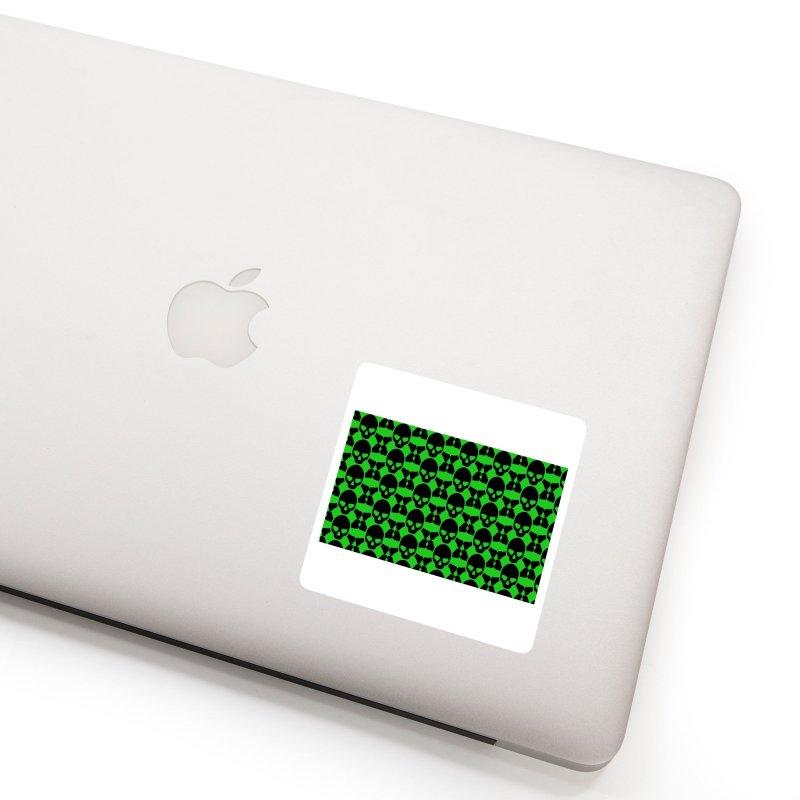skull x pattern green Accessories Sticker by Stellarevolutiondesigns's Artist Shop