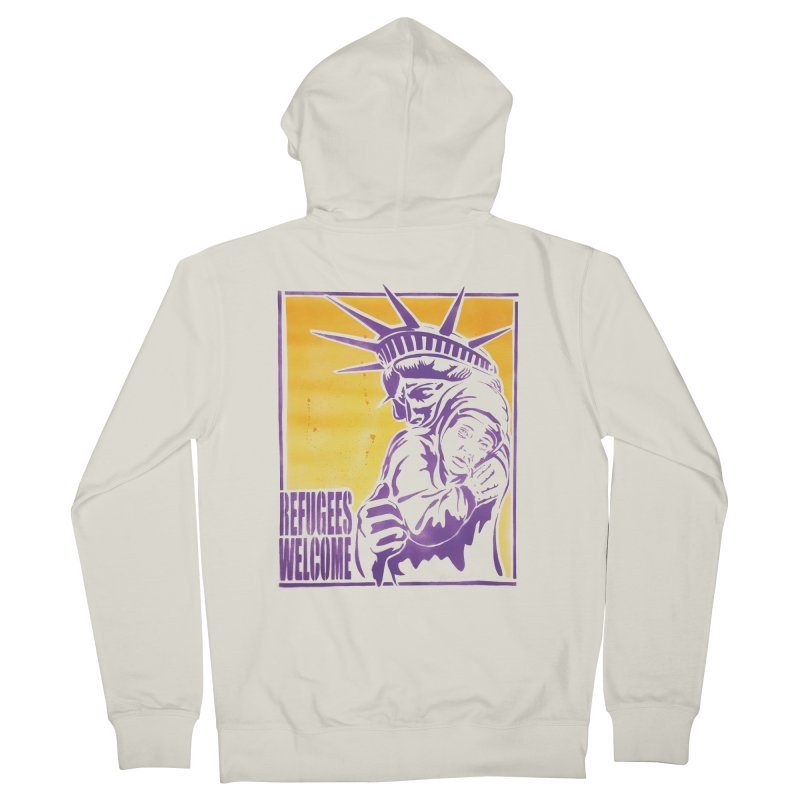 Refugees Welcome - color version Men's Zip-Up Hoody by StencilActiv's Shop